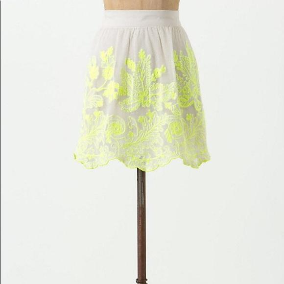 Anthropologie Dresses & Skirts - Anthro mesh embroidered skirt